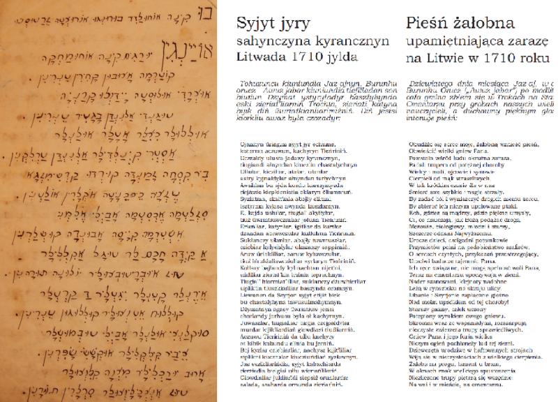 Tekst karaimskojęzycznego hymnu żałobnego – w zapisie alfabetem hebrajskim, współczesnej pisowni opartej na ortografii polskiej oraz w tłumaczeniu. Opracowała i z karaimskiego tłumaczyła Anna Sulimowicz, za: Awazymyz wrzesień 2012: 26-27.